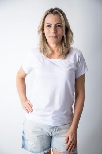 Imagem 1 de 4 de Kit 5  Blusa Feminina Baby Look Brancas Fio 30 Algodão