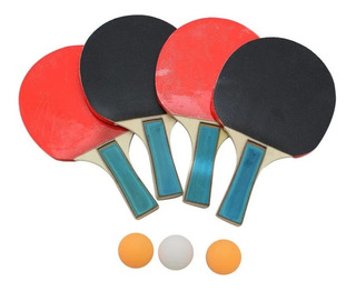 Juego De Mesa Ping Pong Raquetas 4 Paletas 3 Bolas Y Funda