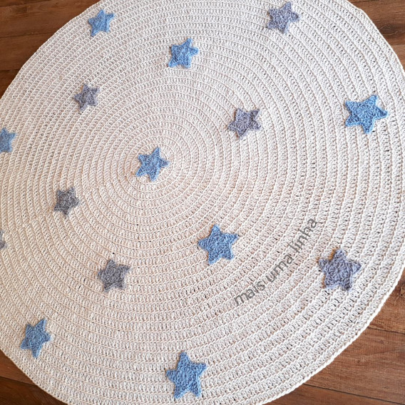 Tapete Redondo De Crochê Com Estrelas Para Quarto De Bebê