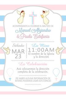 Tarjeta De Invitacion Bautizo Digital Recuerdos Cotillón