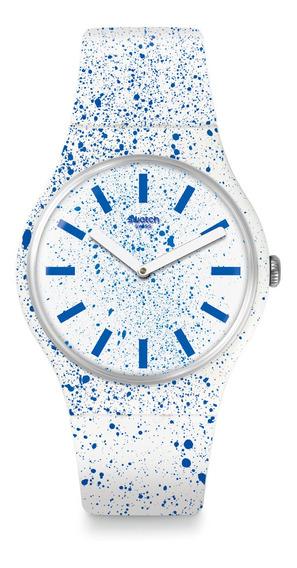 Relógio Swatch Unissex Branco Azul Suow160