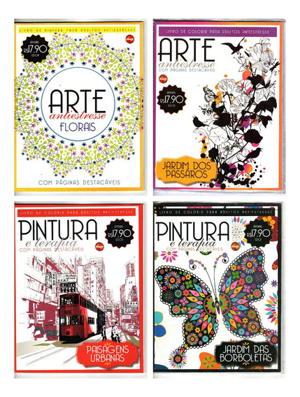 Kit 4 Livros De Colorir Adulto - Arte Antiestresse Lote 2-1