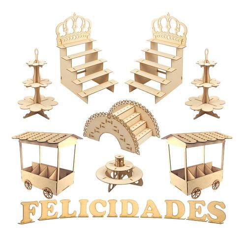 Muebles Para Mesa De Postres Y Dulces Xv Para Fiesta Kit A