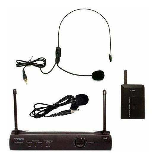 Microfone Sem Fio Headset + Lapela Facial Nf Garantia