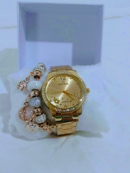 Conjunto Relógio + Pulseira Berloque Dourado Oferta Especial