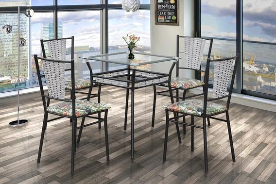 Conjunto 4 Cadeiras E Mesa De Jantar Shalom Craq/mármore