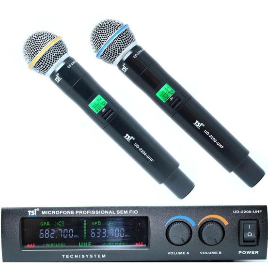 Microfone Sem Fio Duplo Tsi Ud 2200 Uhf De Mão Promoção C/nf