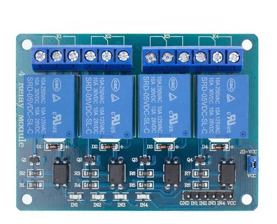 Módulo Rele 4 Canais 5v 10a Arduino Pic Raspberry Automação
