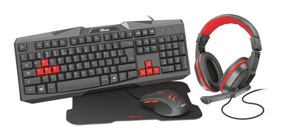 Kit 4x1 Gamer Teclado Mouse Mousepad Headset Trust Ziva