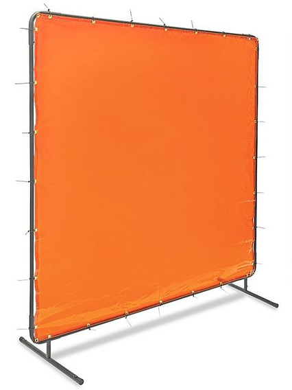 Pantalla De Acero Con Cortina Naranja Para Soldadura 182x182