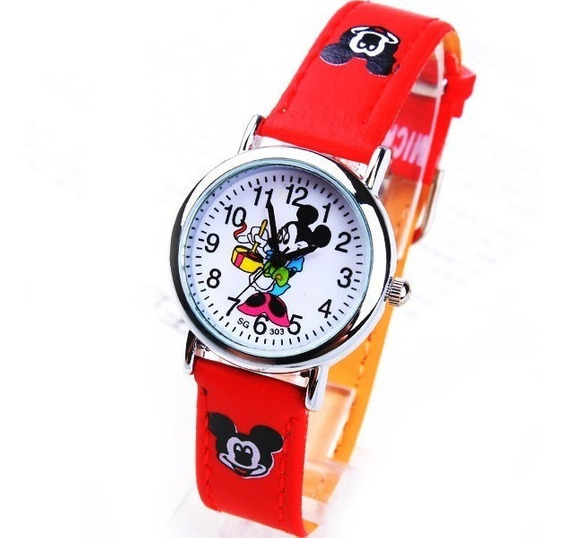 Relógio Mickey Mouse Infantil Rf020c Vermelho Promoção!!!