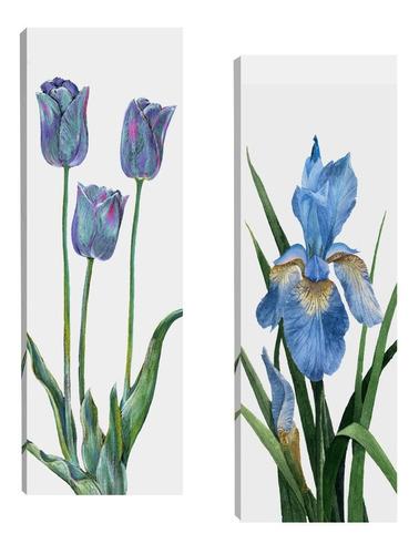 Quadros Tela Para Sala Quarto Corredor Floral 20x60 Par R3
