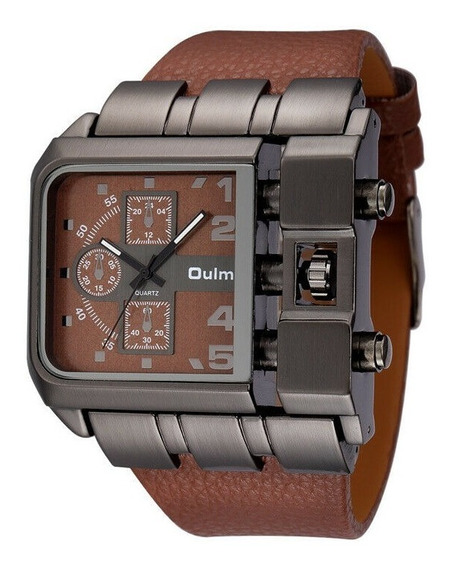 Relógio Masculino Oulm Pulseira De Couro Casual Mov Quartzo