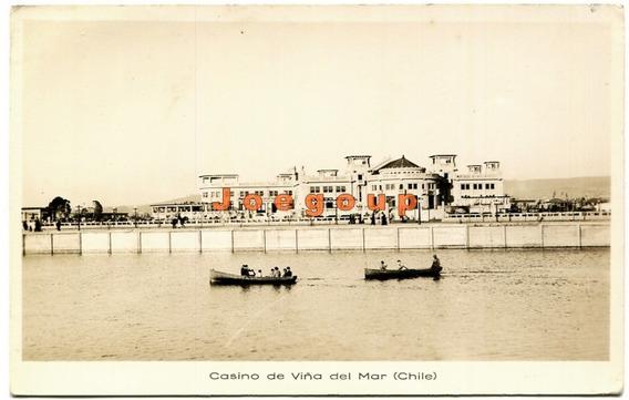 Antigua Postal Botes Casino De Viña Del Mar Chile