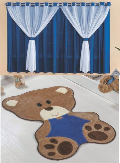 Cortina Com Tapete Pelucia Decoração Quarto Menino E Menina Bebe Urso - Barato