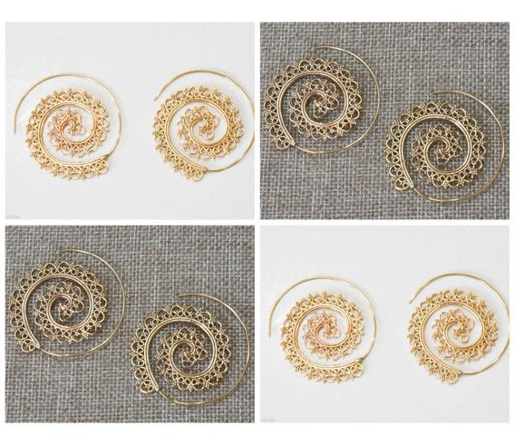 Aretes Espiral Infinitos Importados India Chic Bollywood 9