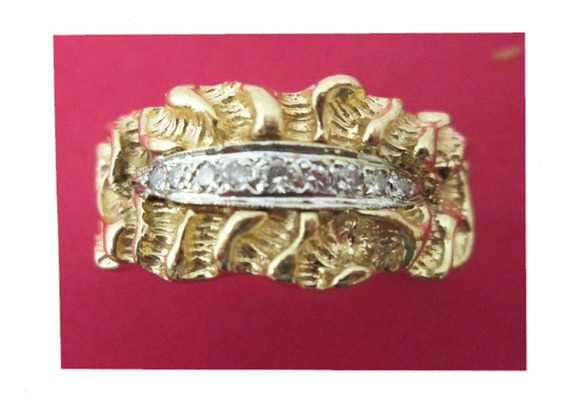 Anillo Caballero Argolla Nugget Oro 14 Kilates Con Diamantes