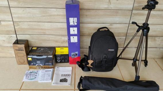 Kit Nikon Camera D3200 Tripe, Bolsa Vanguarda 2 Flash Radio