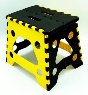 Banco Plegable Chico Plástico Amarillo 120kg Uso Rudo Resist