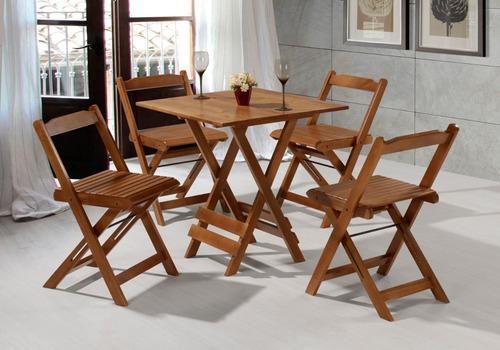 Mesa Com Cadeira Dobrável 70 X 70 Em Madeira De Eucalipto | Mercado Livre
