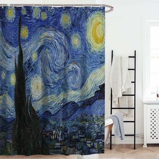 Faraway Van Gogh Pintura Al Óleo Noche Estrellada Cortina D