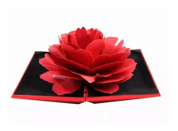 Caja De Regalo Para Anillo Compromiso Boda Diseño Flor Rosa