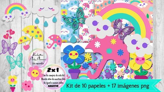 Cliparts Y Papeles Lluvia De Amor Mod. 4 Kit Imprimible