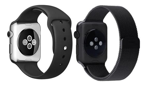 Pulseira Milanese + Pulseira Silicone P/ Apple Watch 38-44mm