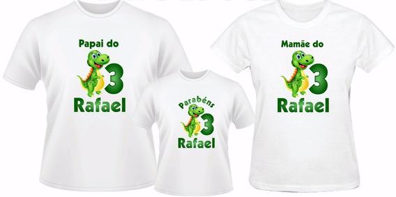 Kit 3 Camisetas Dinossauros Aniversário