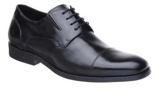 Sapato Oxford Malbork Couro Legítimo Preto Solado Comfort