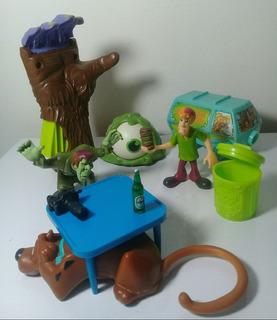 Scooby-doo - Lote C/ 6 Bonecos E Peças P/ Diorama