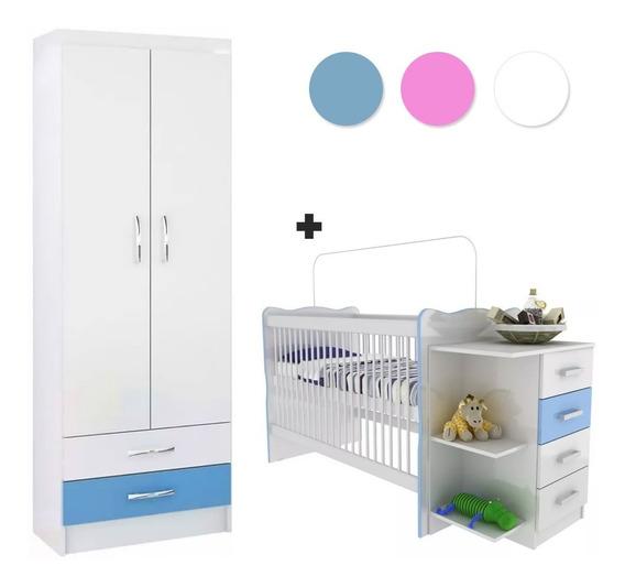 Cuna Infantil C/ Cambiador + Ropero 2p C/ 2caj - Dormitorio