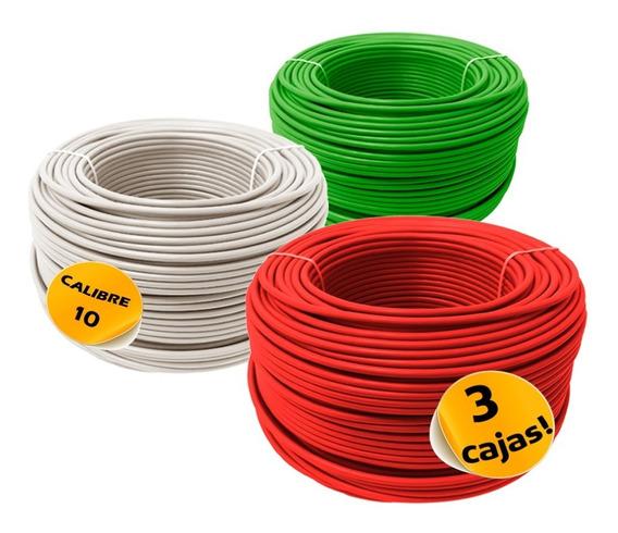 Paquete: 3 Cajas Cable Calibre 10 Thw Alucobre 100m Cada Una