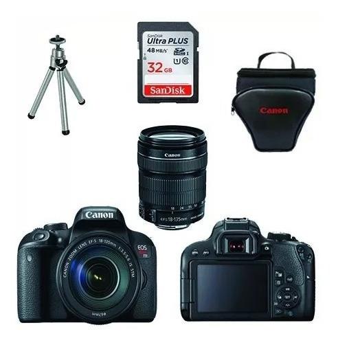 Câmera Canon Rebel T7i C/ 18-135mm Stm+ 32gb+ Bolsa+ Tripé