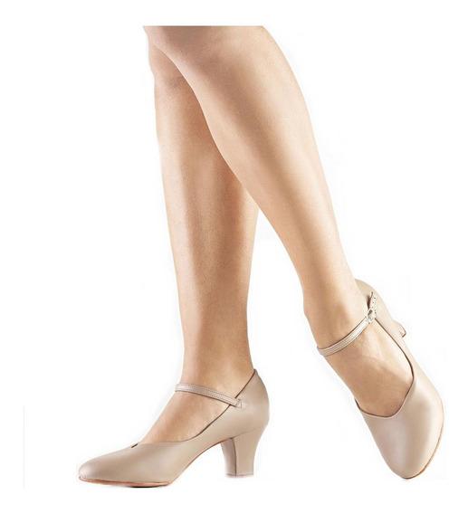Sapato Dança Salão Só Dança Napa Salto 5cm Bege Ch52 P.entre