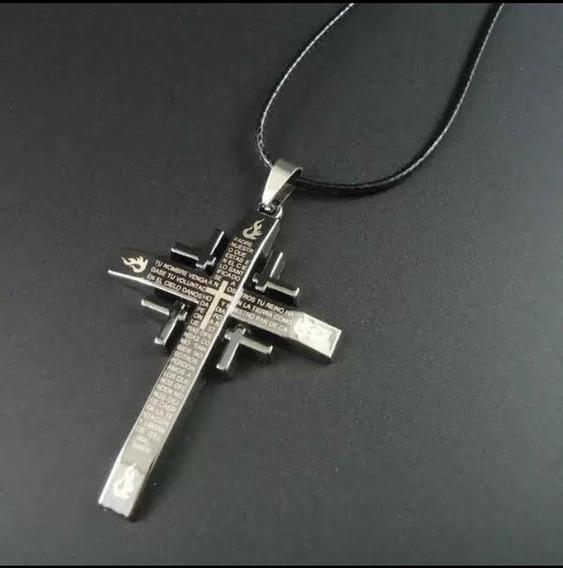 Colar Couro Unissex Pingente Cruz Crucifixo/ Frete Grátis