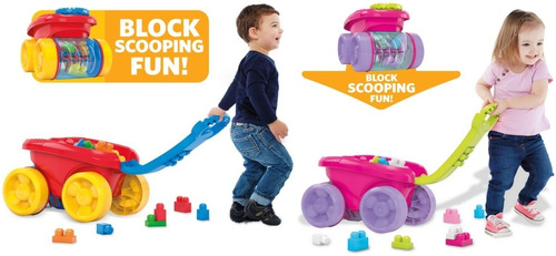 Mega Bloks Block Scooping Wagon Building Set, Pink