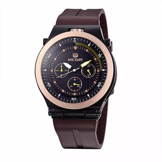 Relógio Megir 3003 Original Marron/dourado