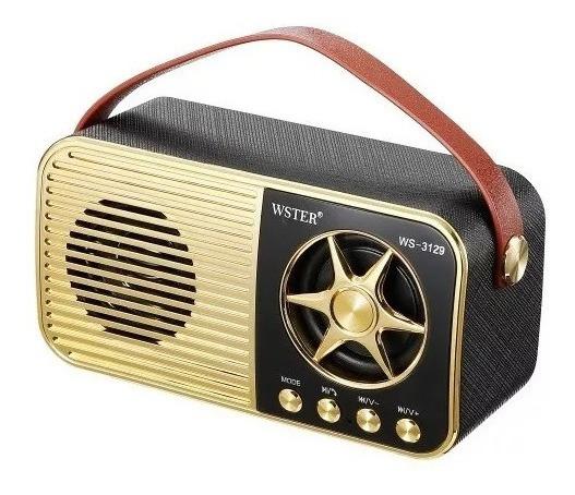 Mini Rádio Ws-3129 Bluetooth Usb Cartão Sd Radio Fm Aux 3w Rms Atende Chamadas