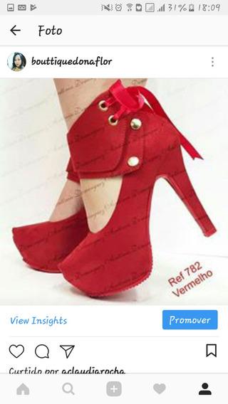 Sapato Peep Toe Vermelho Tam 37