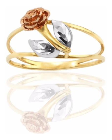 Anel De Ouro 18k Amarelo, Branco, E Rose De Flor (an-005)