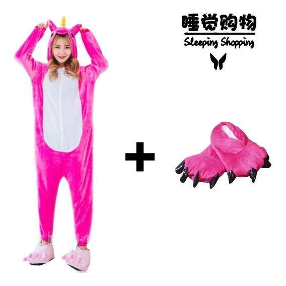 Pijama/kigurumi Unicornio Rosa Fiusha Pantuflas De Regalo!!