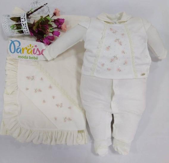 Saida Maternidade Paraiso Moda Bebê Menina Macacão Ref 7410