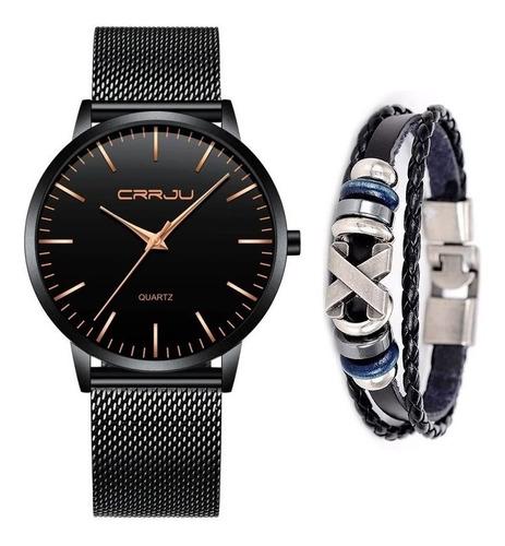 Relógio Masculino Social Ultra Fino De Luxo + Pulseira Metal