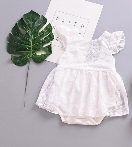 Vestido Blanco De Bebe Pañalero
