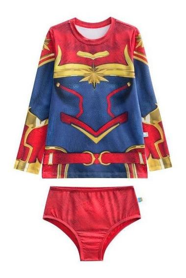 Biquíni Infantil Capitã Marvel Blusa + Calcinha Menina