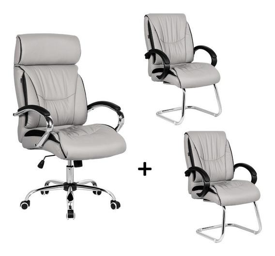 Kit Conjunto Cadeira Escritório Giratória + 2 Fixas Top Seat