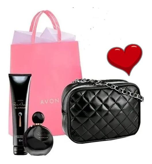 Kit Bolsa + Perfume + Loção Corporal Far Away Glamour Avon