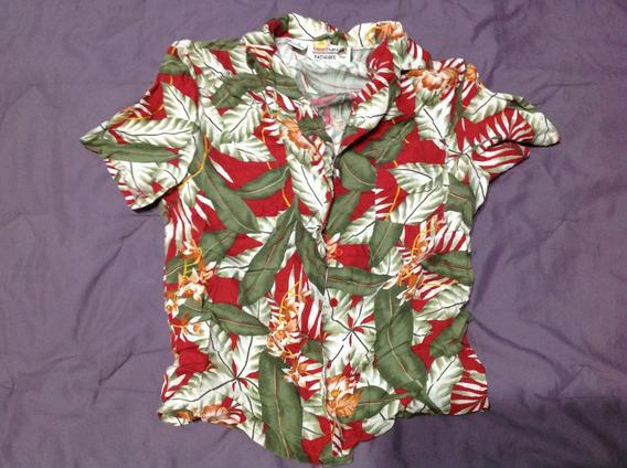 Camisa Chocolate Fatigues Hawaiana Talla M Niño