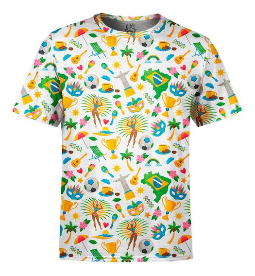 Camiseta Masculina Brasil Temas Brasileiros Estampa Digital